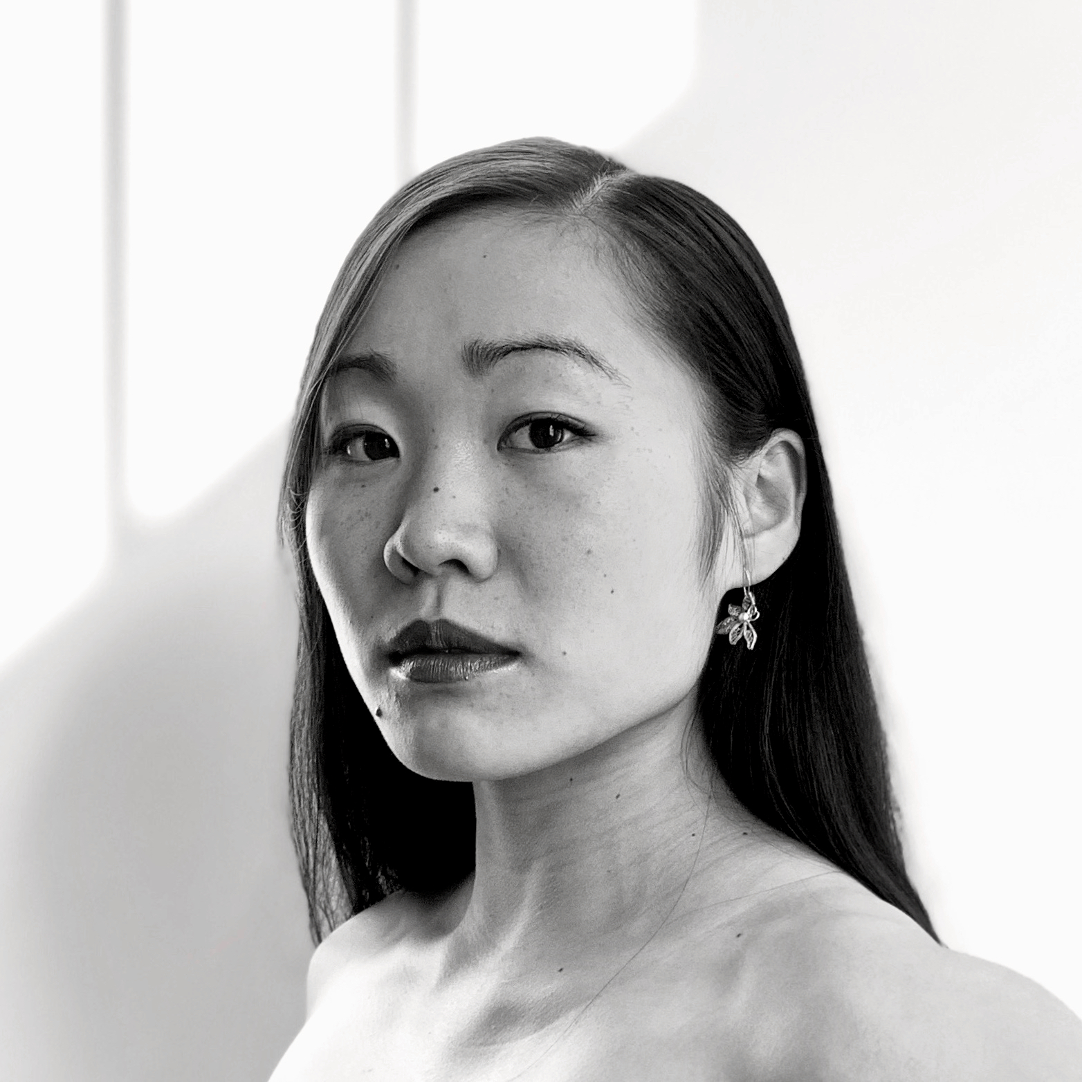 Black & white portrait of ODC/Dance Company dancer Cora Cliburn