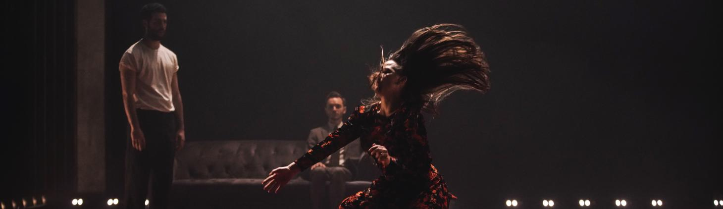 Image of Bobbi Jene Smith falling with her hair captured in dramatic motion